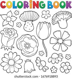 Libro de colorear varios cabezales de flores set 1 - eps10 ilustración vectorial.