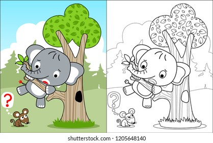 coloring book vector with funny cowardly elephant