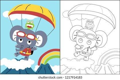 coloring book vector with paratrooper elephant and friend