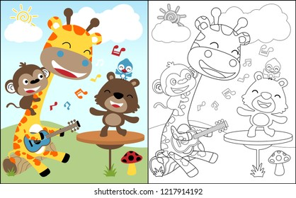 coloring book vector of playing music with cute animals