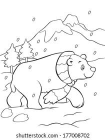 Coloring book vector of polar bear in snow.