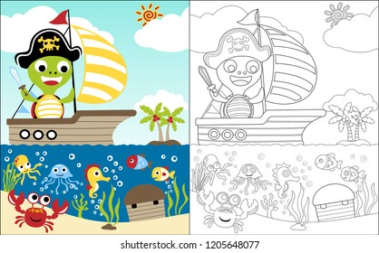 coloring book vector with turtle cartoon the treasure hunter