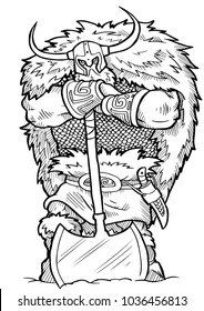 Coloring book Viking Axe cartoon character - vector illustration .EPS10
