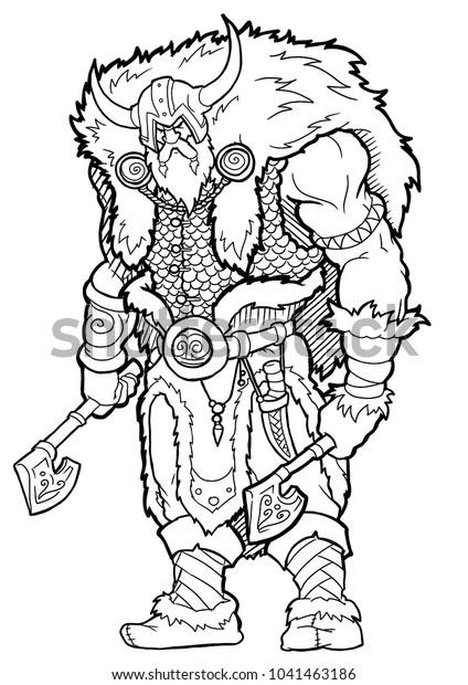 Coloring Book Viking Axe Cartoon Character Stock Vector