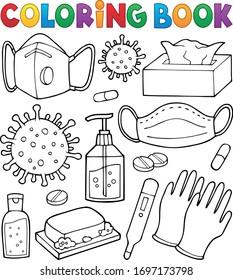 Coloring book virus prevention set - eps10 vector illustration.