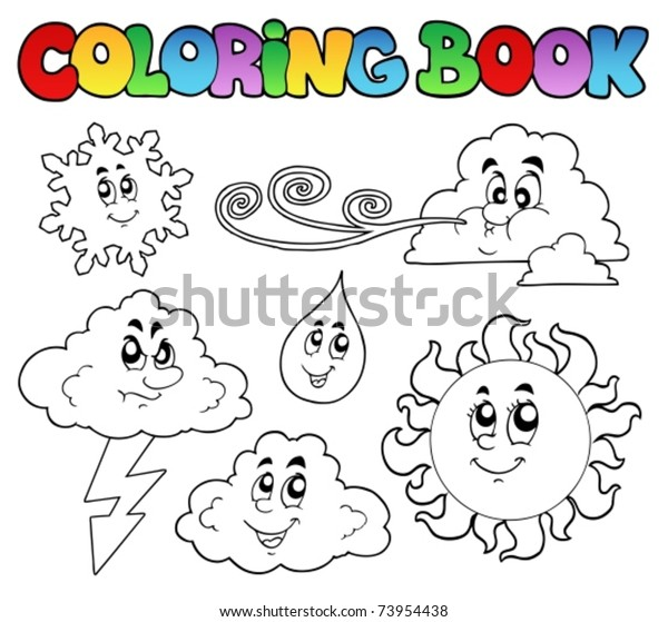 Coloring Book Weather Images Vector Illustration Stock ...