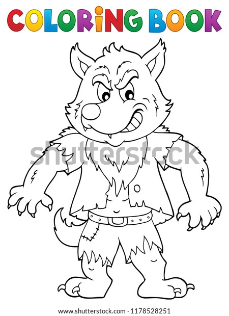 Coloring book werewolf topic 1 - eps10 vector illustration.