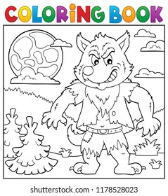 Coloring book werewolf topic 2 - eps10 vector illustration.