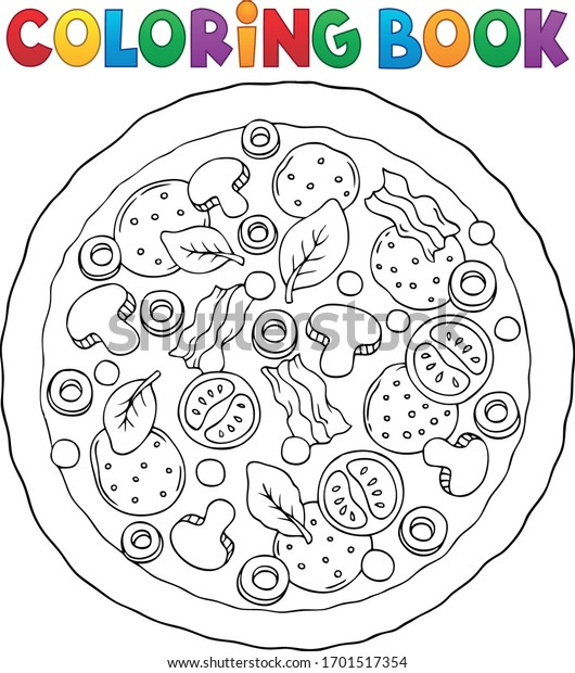 Coloring book whole pizza theme  - eps10 vector illustration.
