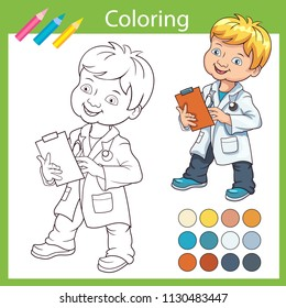 Coloring book wih cute cartoon a doctor. Children drawing with a boy in a doctor's suit. Activity page with kids art game. Worksheet with drawing. Vector illustration.