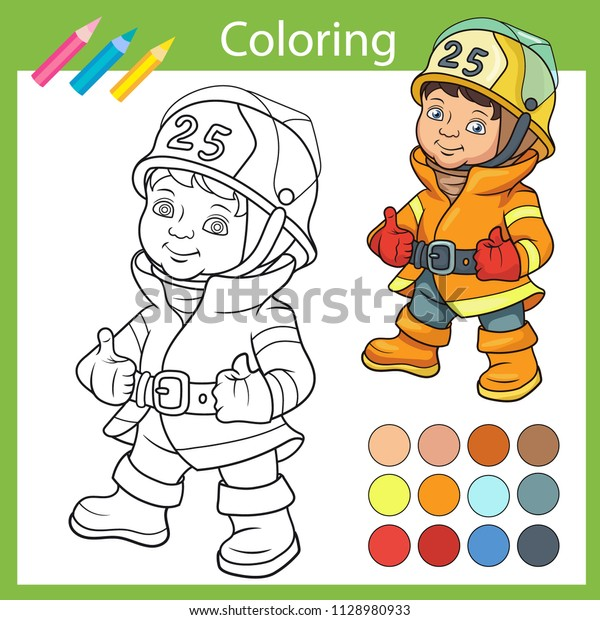 Coloring Book Wih Cute Firefighter Children Stock Vector ...