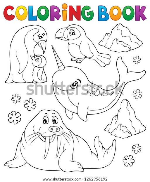 Coloring book winter animals topic 1 - eps10 vector illustration.