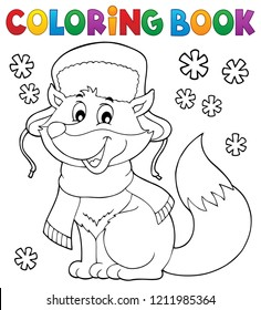 Coloring book winter fox theme 1 - eps10 vector illustration.