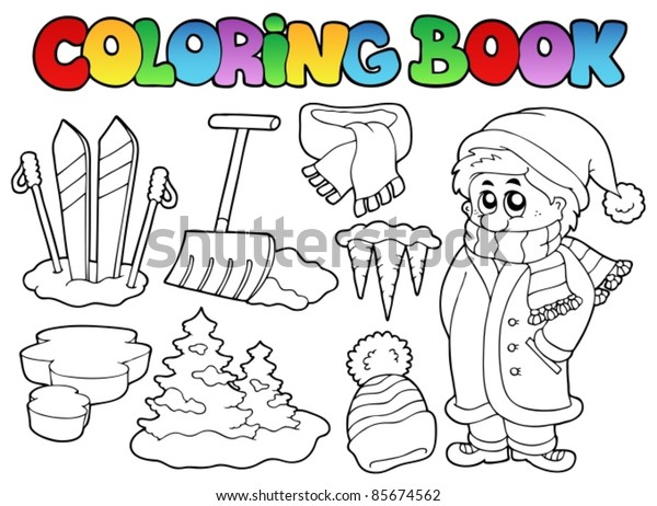 Coloring book winter topic 3 - vector illustration.