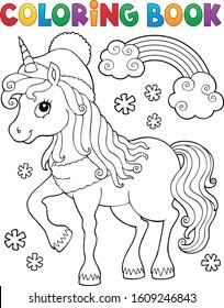 Coloring book winter unicorn theme 1 - eps10 vector illustration.