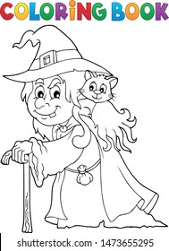 Coloring book witch with cat topic 1 - eps10 vector illustration.