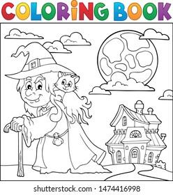 Coloring book witch with cat topic 2 - eps10 vector illustration.