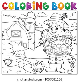 Coloring book woman farmer theme 2 - eps10 vector illustration.