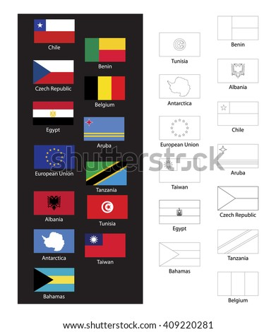 Coloring Book World Flags Stock Vector Royalty Free 409220281