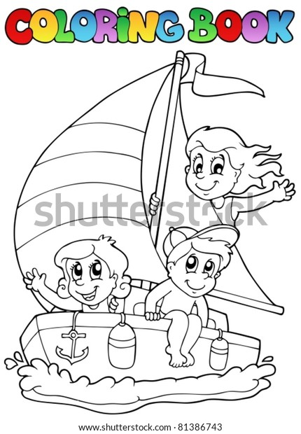Coloring Book Yacht Kids Vector Illustration Stock Vector Royalty