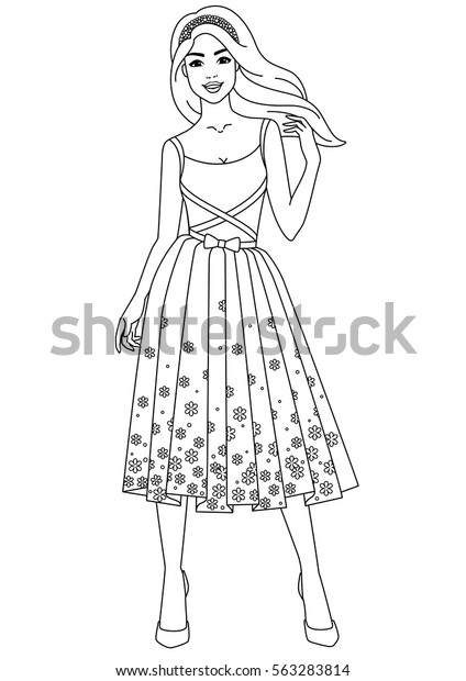 Coloring Book Young Beautiful Girl Dress Stock Vector Royalty Free 563283814