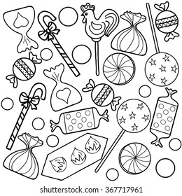 Coloring  book.Candy.  Hand drawn. Adults, children. Black and white.