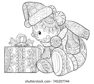 Coloring Bookpage For Adults And Children A Little Christmas Bear With Gift Box