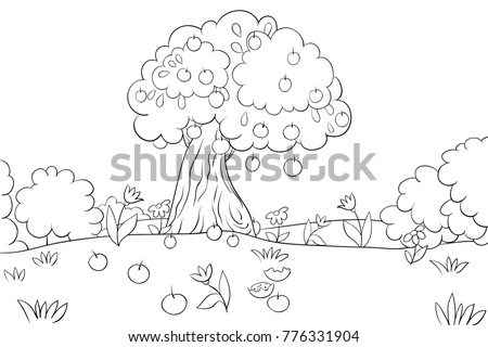 Coloring Bookpage An Apple Tree On A Field For Children Activities ImageLine