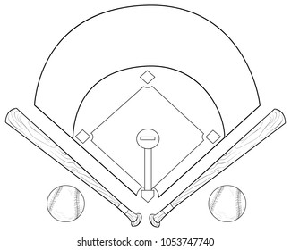 Coloring book,page a baseball cartoon image with balls and bats for children.Line art style illustration for relaxing.
