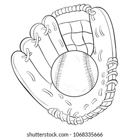 Coloring book,page a baseball glove and ball  image for children.Line art style illustration for relaxing.