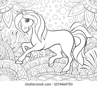 Coloring book,page a cute horse on the floral background for children and adults for relaxing. Zen art style illustration.