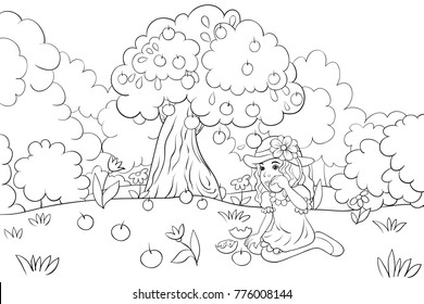 Coloring book,page a cute little girl eating apple in the garden for children activity image.Line art style illustration.