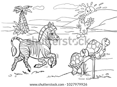 Coloring Books Children Animals Play Sports Stock Vector Royalty