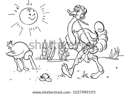 Coloring Books Children Ostriches Merry Cartoons Stock Vector