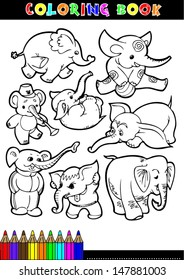 Coloring Books Or Page Black And White Comic Illustrations Of Elephants
