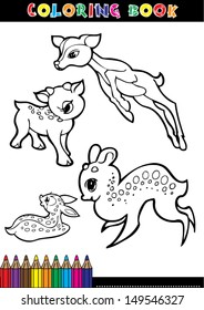Coloring Books Or Page Cartoon Illustration Black And White Of A Deer