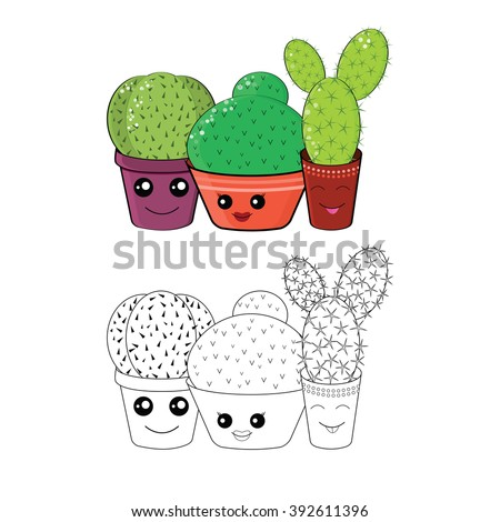 Coloring Cacti Coloring Page Hilarious Family Cacti On Stock Vector