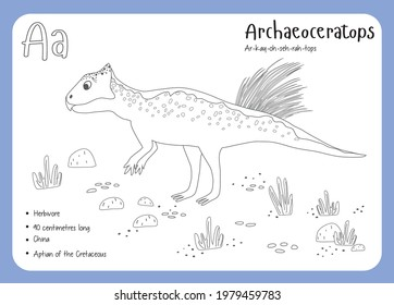 Coloring cards with dinosaurs and alphabet. Dinosaur Fact Cards. Dinosaur Names Corresponding to the English Alphabet. Cute colorful vector illustration. Herbivore set. Dinosaur vegan. Archaeoceratops