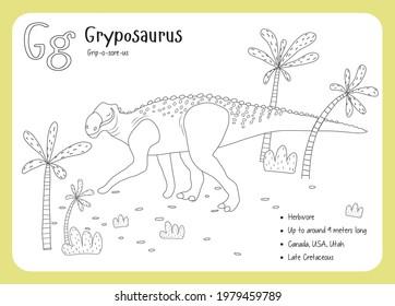 Coloring cards with dinosaurs and alphabet. Dinosaur Fact Cards. Dinosaur Names Corresponding to the English Alphabet. Cute colorful vector illustration. Herbivore set. Dinosaur vegan. Gryposaurus