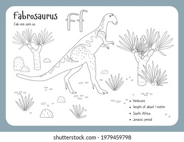 Coloring cards with dinosaurs and alphabet. Dinosaur Fact Cards. Dinosaur Names Corresponding to the English Alphabet. Cute colorful vector illustration. Herbivore set. Dinosaur vegan. Fabrosaurus
