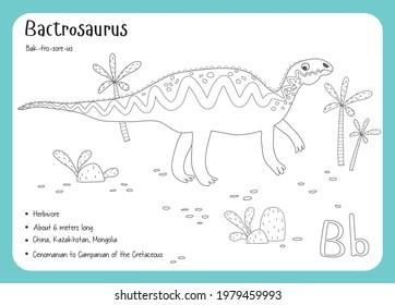 Coloring cards with dinosaurs and alphabet. Dinosaur Fact Cards. Dinosaur Names Corresponding to the English Alphabet. Cute colorful vector illustration. Herbivore set. Dinosaur vegan. Bactrosaurus