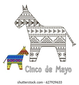 Coloring for children or adults. Celebration Cinco de Mayo.Mexican toy with sweets inside.