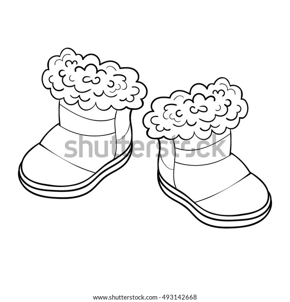 Coloring Childrens Shoes Stock Vector (Royalty Free) 493142668
