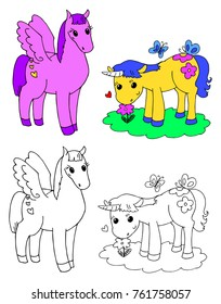 Coloring cute pegasus and unicorn vector illustration
