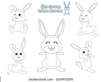Coloring the Cute Rabbits Cartoon Set. Educational Game for Kids. Vector illustration With Cartoon Happy Animal