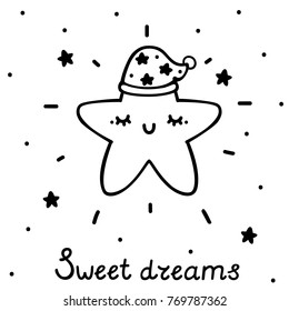 Coloring With Cute Sleeping Star Vector