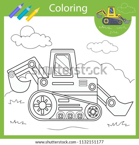 Coloring With Draw Tractor Drawing Worksheets Children Funny Picture Page For Kids