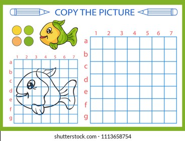 Coloring with drawing lesson. Repaint the picture sea fish using grid lines. Copy the picture for children. Kids drawing art game. Activity page for book. Hobby courses. Vector illustration.