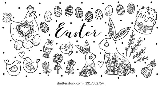 Coloring for Easter. Hen hen, chickens, rabbits, flowers, Easter cake, eggs. Linear illustration.