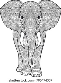 Coloring. Elephant with patterns
